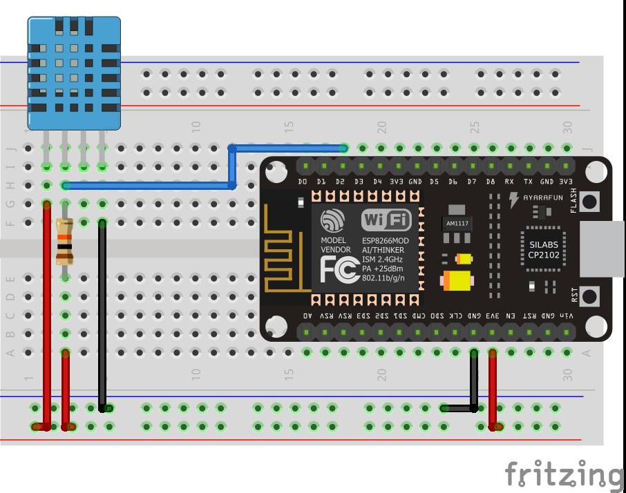 Circuito para monitorar a temperatura e umidade com sensor DHT11.