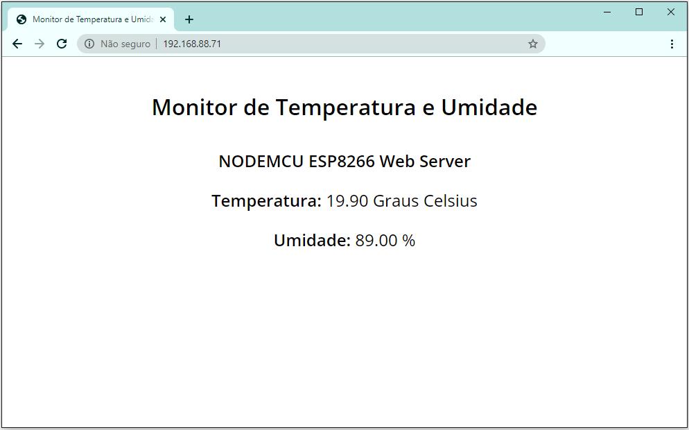 Monitor de Temperatura e Umidade com NODEMCU ESP8266 como Servidor Web.