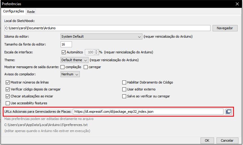 Atualização do gerenciador de placas no Arduino IDE para programar o ESP32.