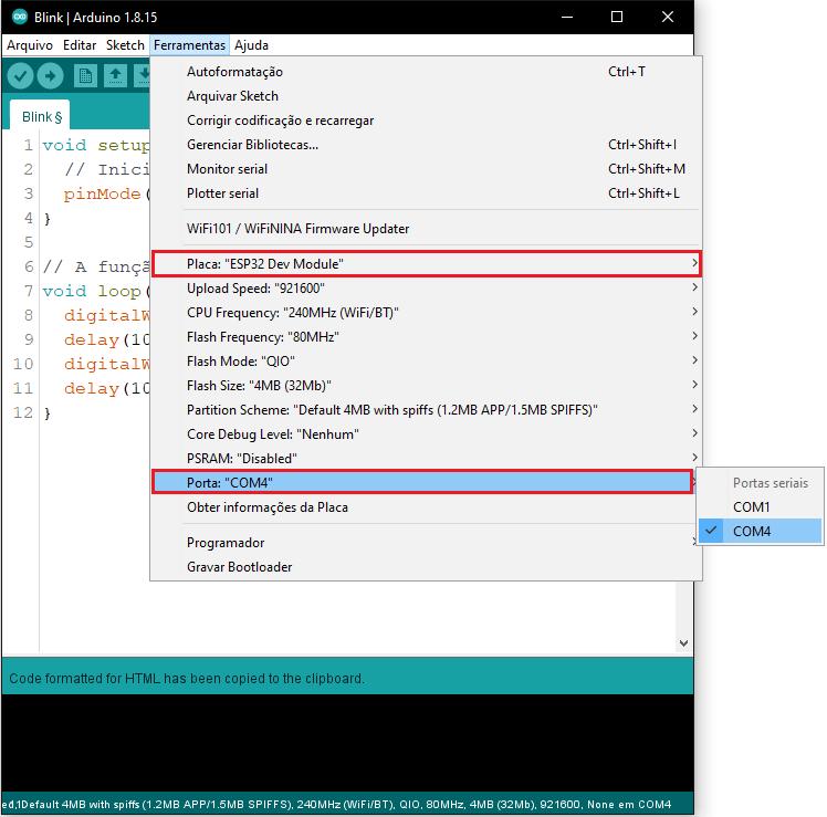 Configuração da placa e porta de comunicação para programação da placa ESP32 no Arduino IDE.