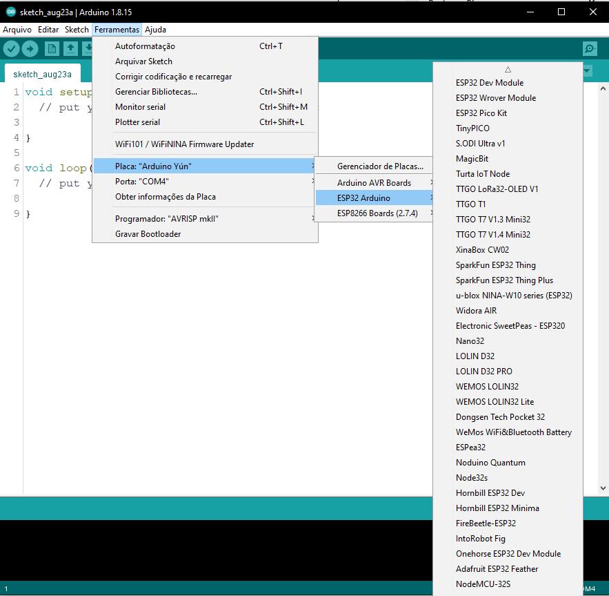 Placas ESP32 instaladas no Arduino IDE.